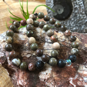 Essential oil diffuser bracelet - Gray / brown jasper