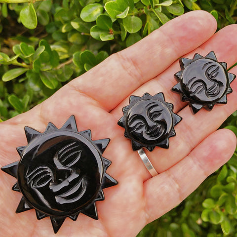 Carved Black Onyx Sun (Protection)