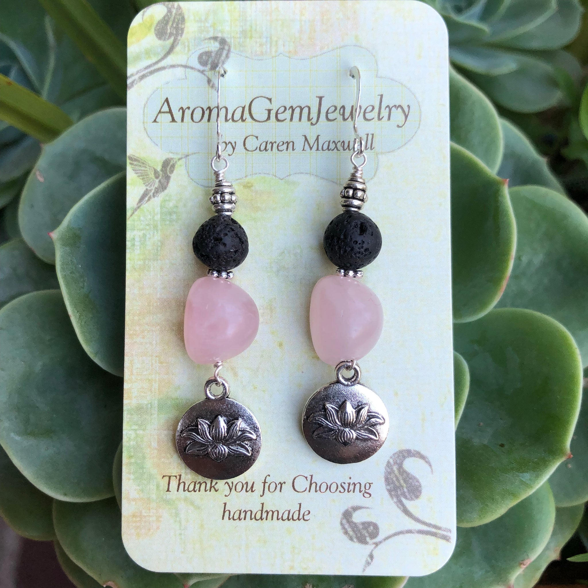 Essential oil diffuser earrings-Sterling Silver-rose quartz -lotus