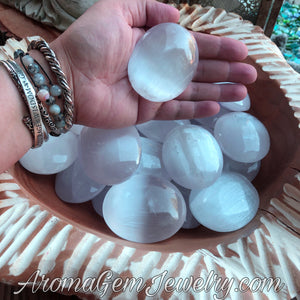 One Selenite Palm stone (also sold in lot of 5)