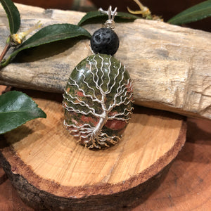 Essential oil diffuser necklace - handmade tree of life - Unakite