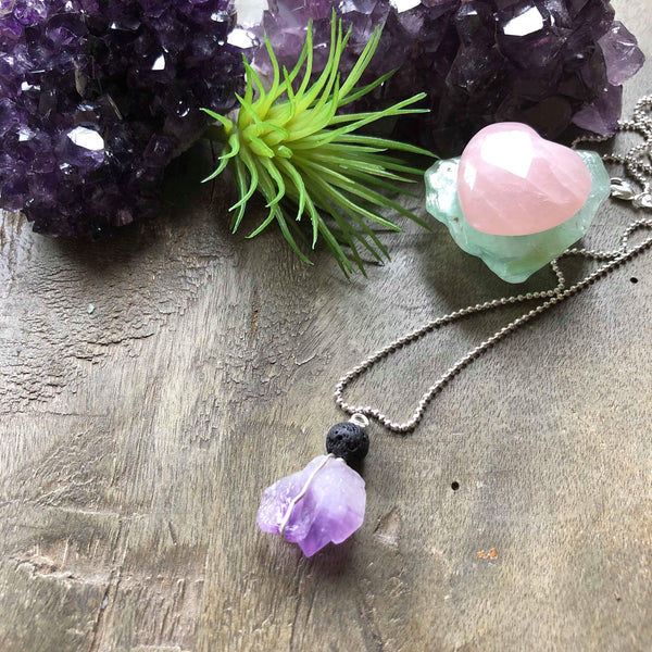 Essential oil diffuser necklace - raw amethyst cluster