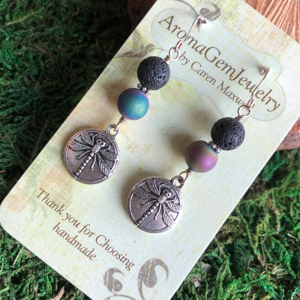 Essential oil diffuser earrings - sterling silver -leaf & rainbow druzy agate