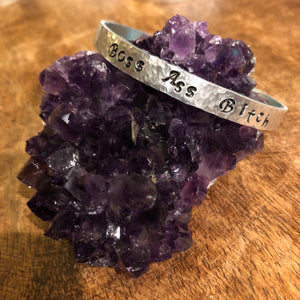 Hand stamped aluminum bracelet - Boss Ass Bitch