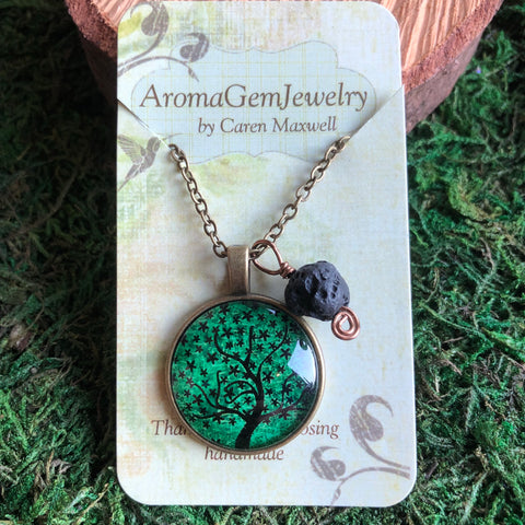 Essential oil diffuser necklace- green Tree of Life