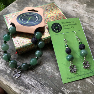 Green Aventurine-Essential oil diffuser bracelet or earring- 4 leaf clover