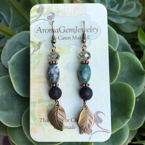 Essential oil diffuser earrings-tree agate- bronze alloy- leaf
