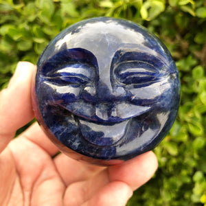 "Carved Sodalite ""moon"" sphere"