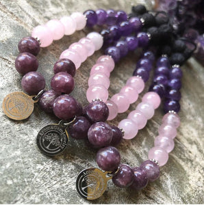 Essential oil diffuser bracelet - Amethyst, Lepidolite, Rose Quartz (Patience and Calm)