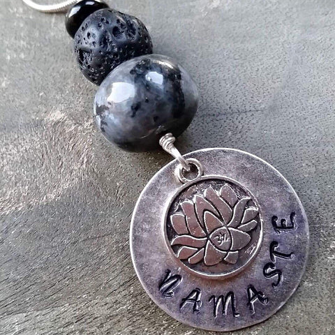 Essential oil diffuser necklace - hand stamped Round Namaste & Lotus
