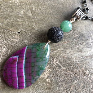 Essential oil diffuser necklace - purple & green agate