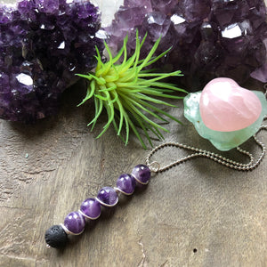 Essential oil diffuser necklace- amethyst