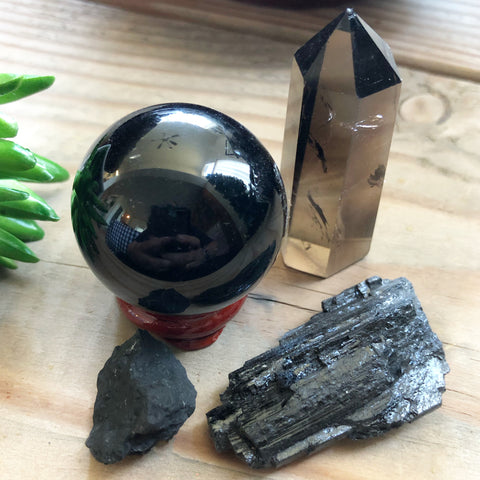 Protection Bundle (Obsidian sphere, Smokey Quartz tower, Black Tourmaline, Shungite)