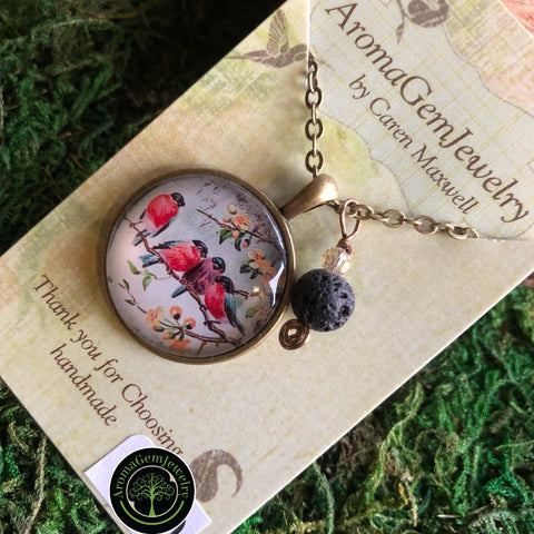 Essential oil diffuser necklace - birds