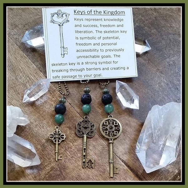 Essential oil diffuser necklace - skeleton key - sunburst