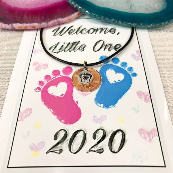 Hand stamped 2020 penny - new baby