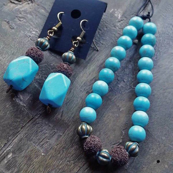 Essential oil diffuser bracelet / earring set - blue Howlite