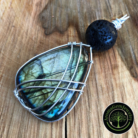 Essential oil diffuser pendant -sterling silver wire wrapped large Labradorite