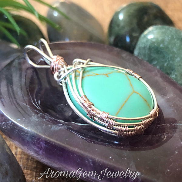 Special order for Kristina P. - Magnesite Sterling Silver wire wrapped necklace