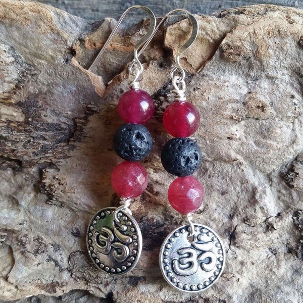 Essential oil diffuser earrings - Om - energized fuscia