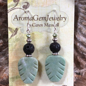 Essential oil diffuser earrings- New Jade - leaf - Sterling Silver