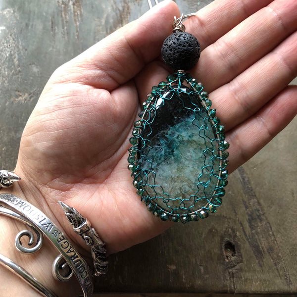 Essential oil diffuser necklace - Agate