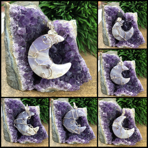 Wire wrapped Purple Chalcedony Crescent Moon Pendant