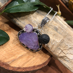 Essential oil diffuser necklace - agate & amethyst