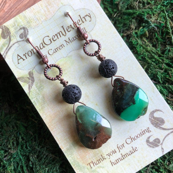 Essential oil diffuser earrings - chrysocolla
