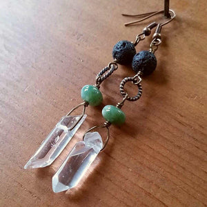 Essential oil diffuser earrings - Chrysoprase and quartz crystal
