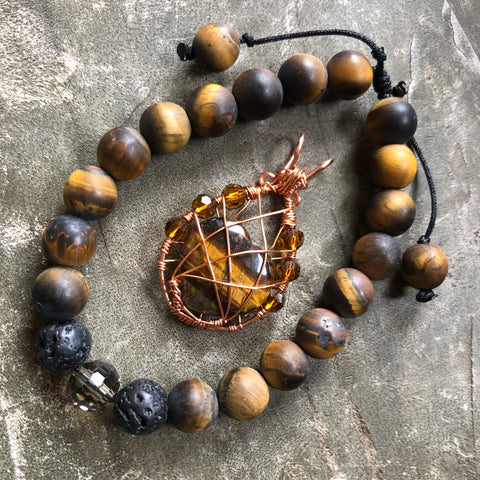 Tiger eye necklace + aromatherapy bracelet set - Ocean blue agat