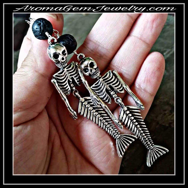 Essential oil diffuser earrings - mermaid skeletons
