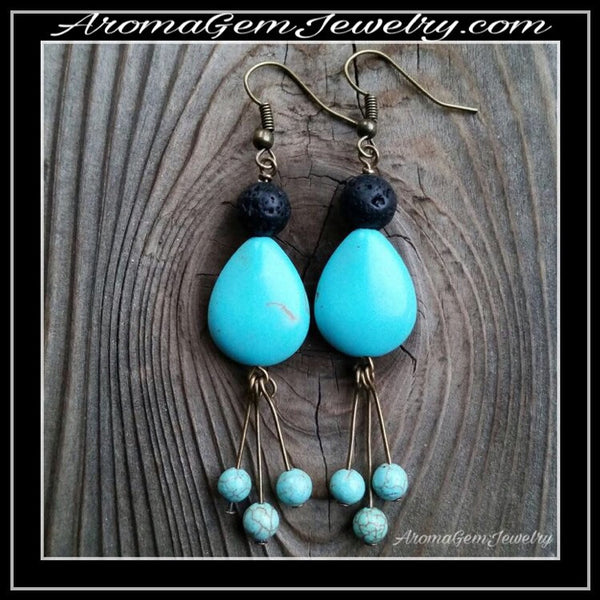 Essential oil diffuser earrings - blue Magnesite - antiqued bronze