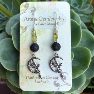 Essential oil diffuser earrings-Sterling Silver- peridot - fairy