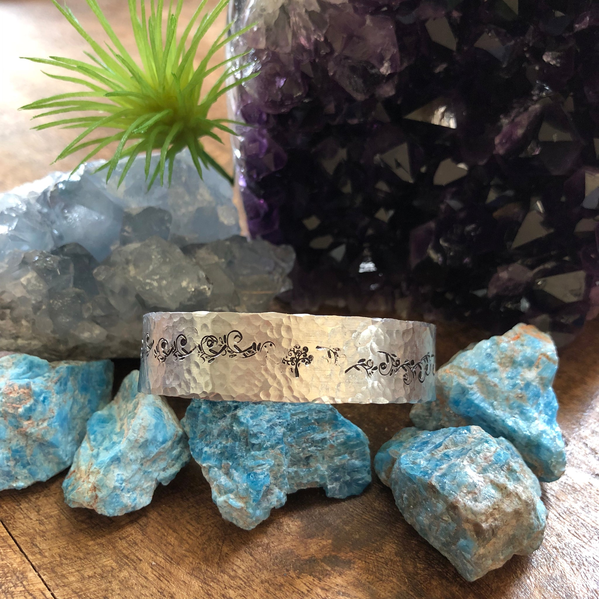 Hand stamped aluminum bracelet - tree and scroll