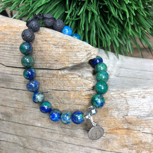 Essential oil diffuser bracelet - Azurite Malachite (Clarity, Prosperity, Intuition, Courage)