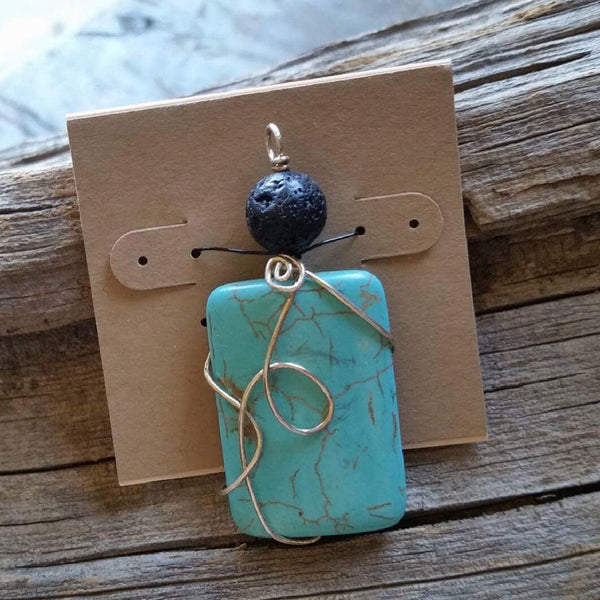Essential oil diffuser necklace - magnesite w/SS chain
