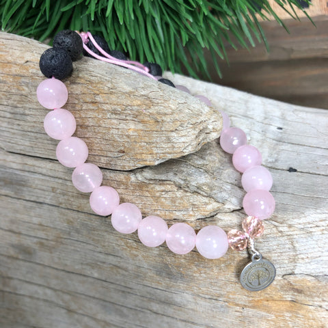 Essential oil diffuser bracelet - Rose Quartz (Trust, Harmony, Friendship, Love, Peace)
