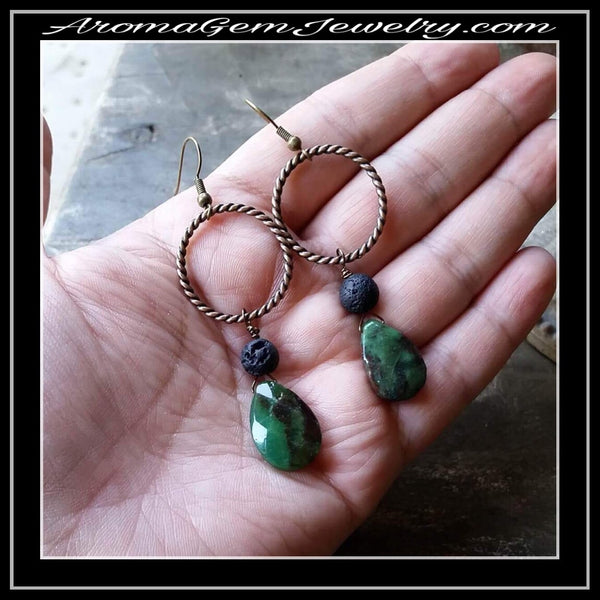 Essential oil diffuser earrings - chrysoprase - antiqued brass