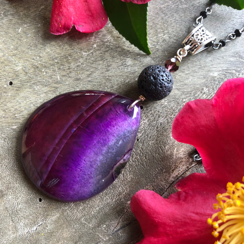 Essential oil diffuser necklace - deep purple agate
