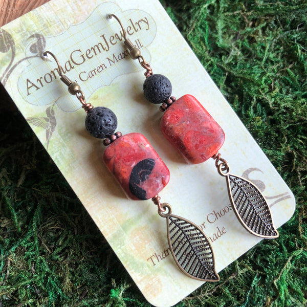 Essential oil diffuser earrings - antiqued bronze-leaf & coral