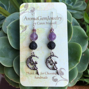 Essential oil diffuser jewelry-Sterling Silver- amethyst - fairy