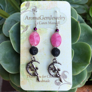Essential oil diffuser jewelry-Sterling Silver- pink quartz - fairy