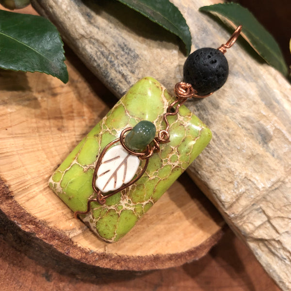 Essential oil diffuser necklace- nature-  leaf - green magnesite & copper