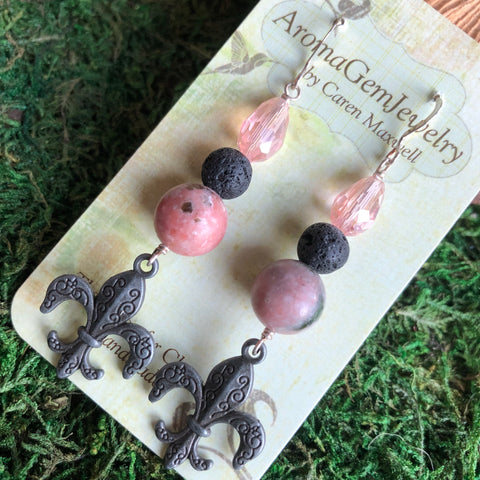 Essential oil diffuser earrings - Rhodochrosite