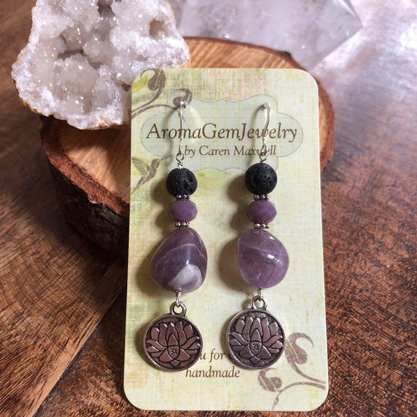 Essential oil diffuser earrings - Amethyst - lotus - Sterling Silver