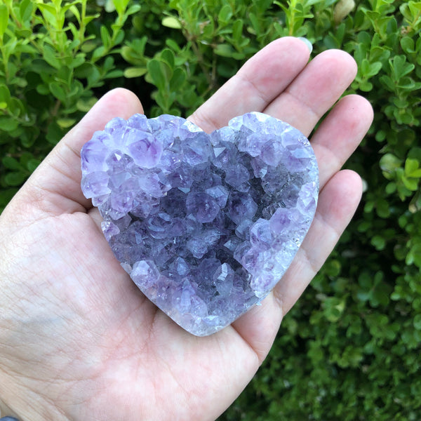 Large Amethyst Cluster Heart with unique flower