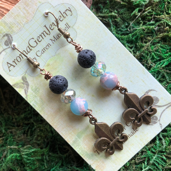 Essential oil diffuser earrings - sea sediment jasper