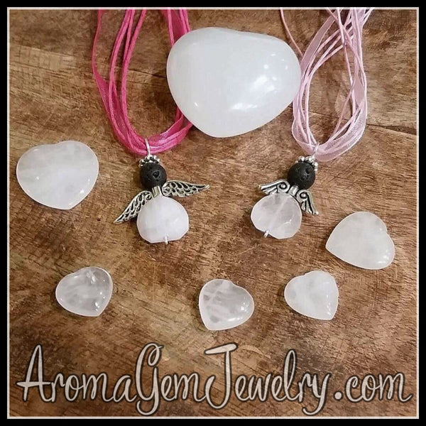 Essential oil diffuser necklace - rose quartz angel