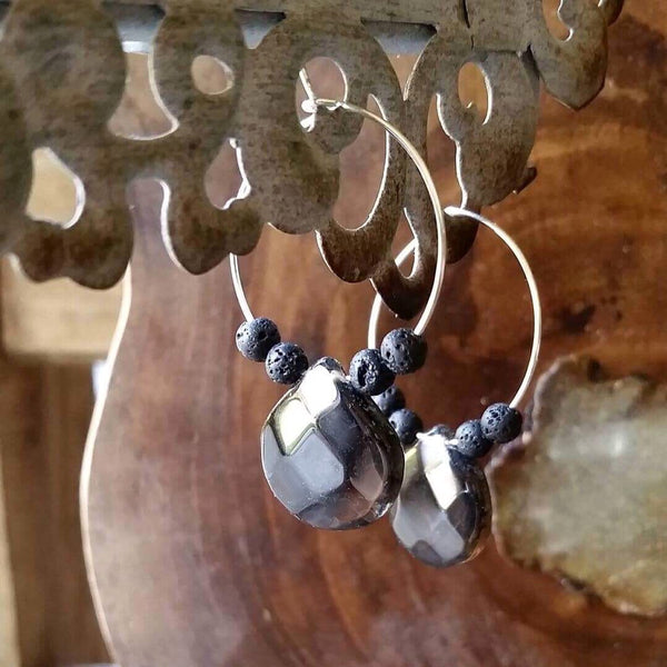 Essential oil diffuser earrings - smokey Quartz hoops